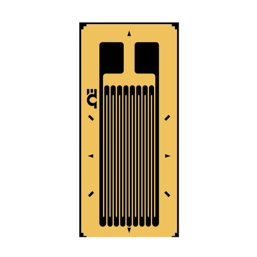 1 Axis Linear Strain Gages (Pack of 10) - Termination type: solder pads, Resistance: 120 Ω, Grid length: 1,5 mm, Grid width: 1,2 mm, Compensation: ST (steel)